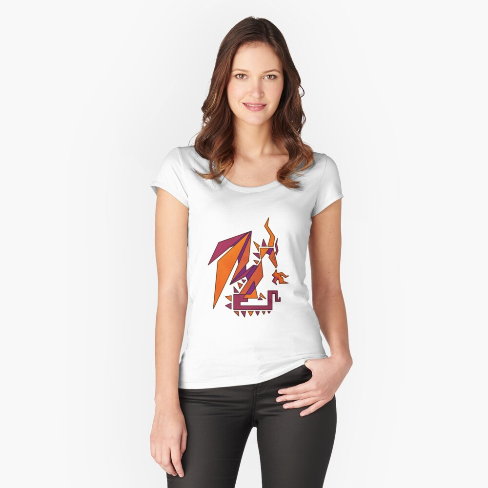 Geometric Dragon Women's Fitted Scoop T-Shirt Front