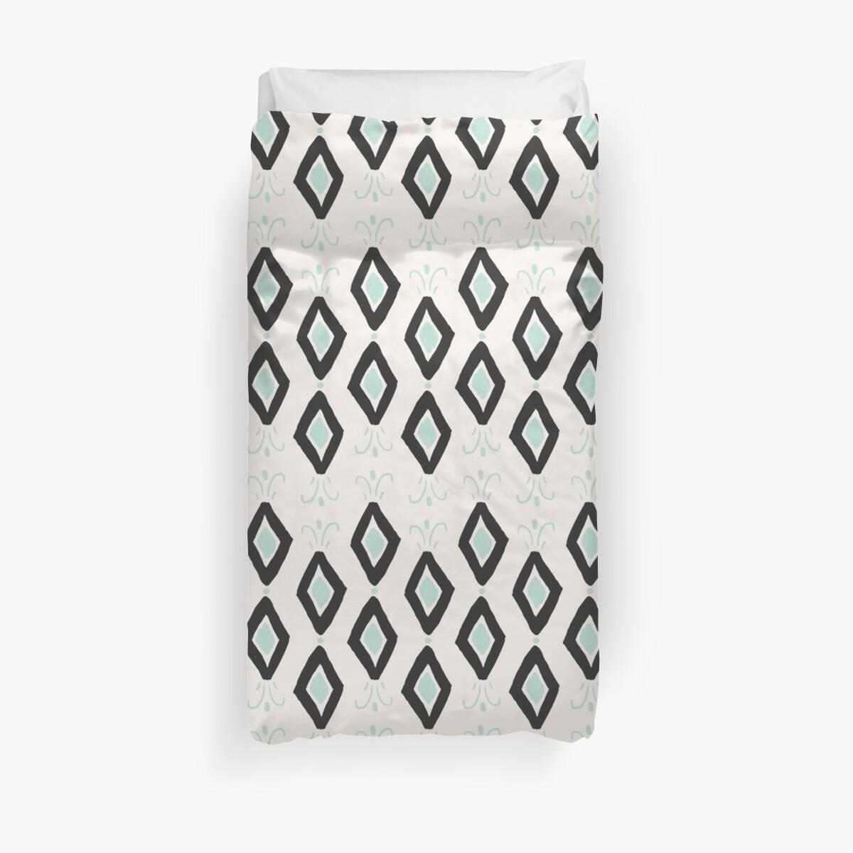 Bohemian Diamonds - Dark gray, light blue and cream pattern by allysonjohnson