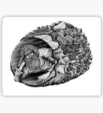 Diogenes surreal pen ink black and white drawing Sticker