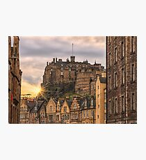 Edinburgh Castle Sunset from Candlemaker Row Photographic Print
