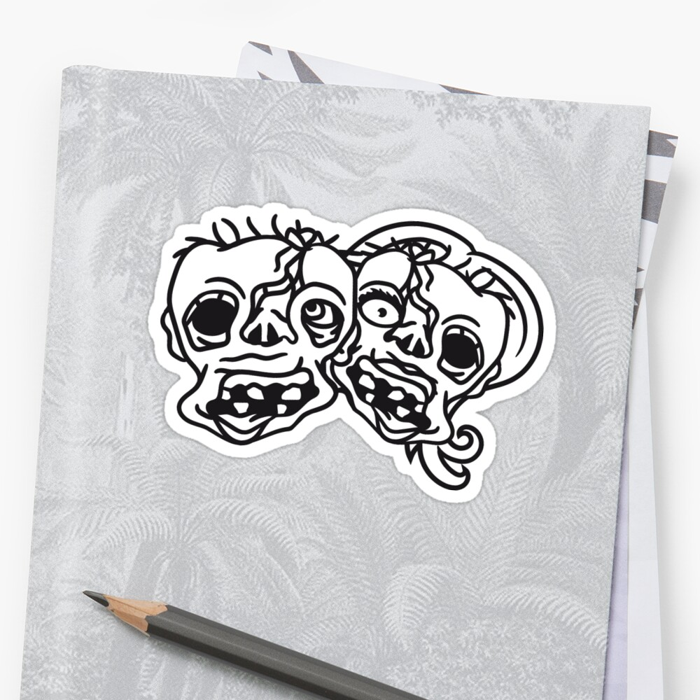 heads faces 2 undead zombies couple couple love in love woman man girl boy team cool disgusting running horror monster halloween comic cartoon by Motiv-Lady