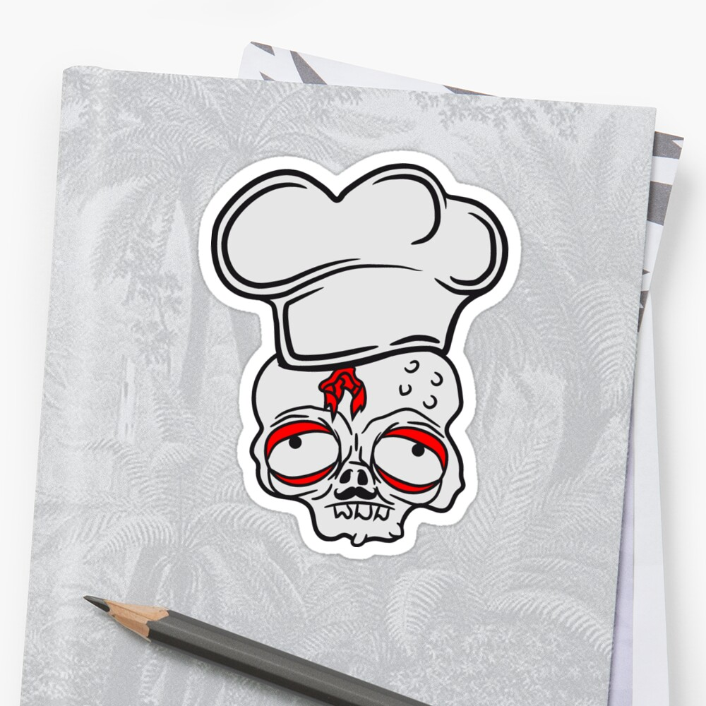 head barbecue zombie food cook chef chef grilling delicious hunger restaurant chef hat apron undead horror monster halloween by Motiv-Lady