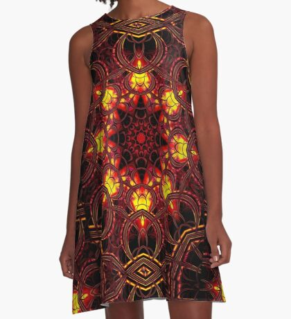 """On the Edge of Mania"" (Red Tones) - Geometric Abstract Mandala   A-Line Dress"
