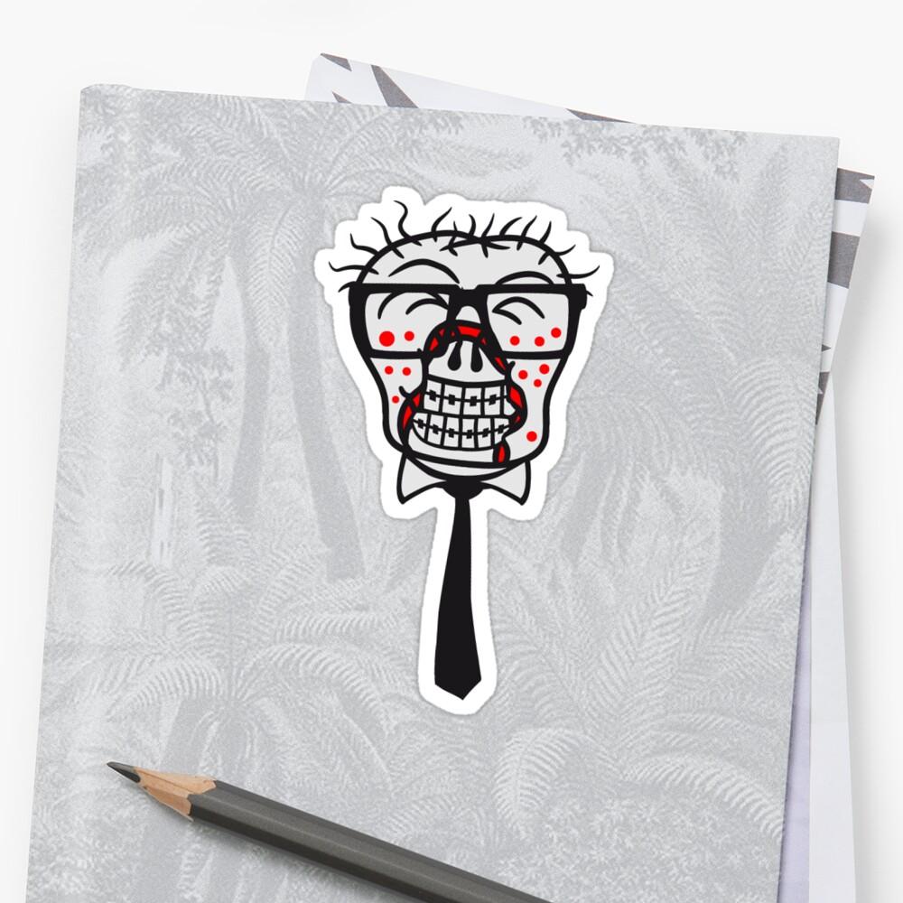 head face nerd geek horn glasses pimple clasp freak sly happy undead monster halloween horror comic cartoon design zombie by Motiv-Lady