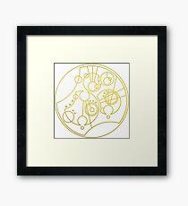 'Gallifrey Falls No More.' in Gallifreyan - Gold (transparent background) Framed Print
