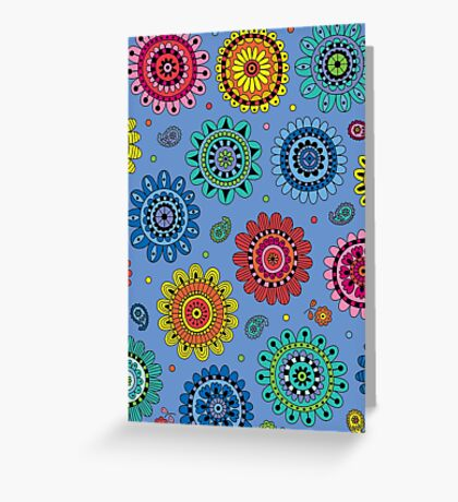 Flowers of Desire blue Greeting Card