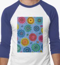 Flowers of Desire blue Men's Baseball ¾ T-Shirt