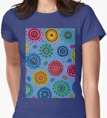 Flowers of Desire blue Womens Fitted T-Shirt