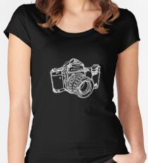 Pentax 6X7 Medium Format Camera WHITE INK Women's Fitted Scoop T-Shirt