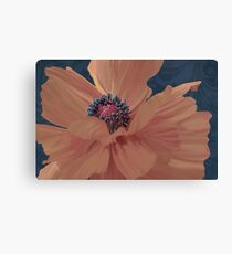 Color Theory, complimentary colors, poppy damask floral Canvas Print