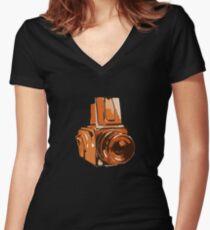 Medium Format 6x6 Camera Design in Orange Women's Fitted V-Neck T-Shirt