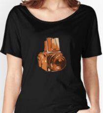 Medium Format 6x6 Camera Design in Orange Women's Relaxed Fit T-Shirt