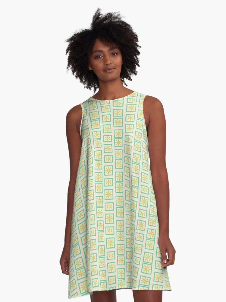 Retro Green A-Line Dress Front