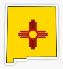 New Mexico Map with New Mexico State Flag Sticker
