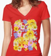 Yellow Daisy Women's Fitted V-Neck T-Shirt
