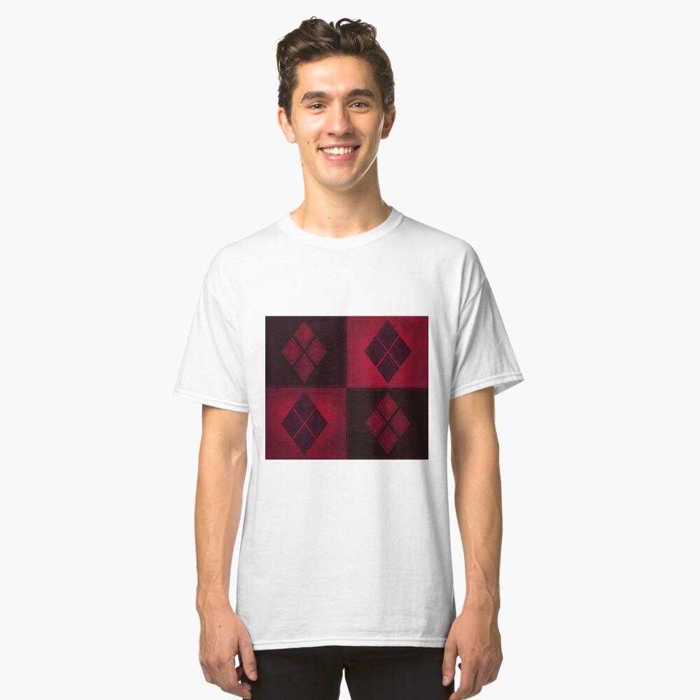 Patchwork Red & Black Leder Effekt Motley mit Diamant Patches 3 Classic T-Shirt