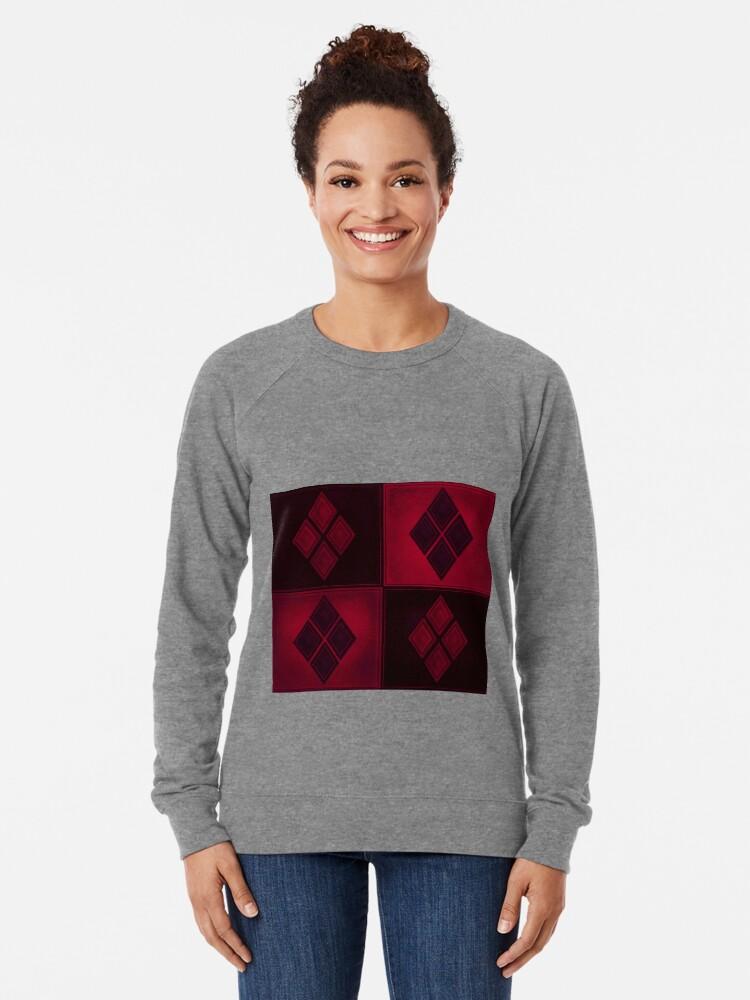 Alternative Ansicht von Patchwork Red & Black Leder Effekt Motley mit Diamant Patches 3 Leichter Pullover