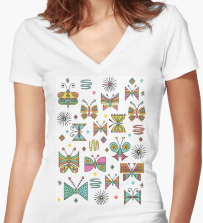 Butterfly Joy Women's Fitted V-Neck T-Shirt