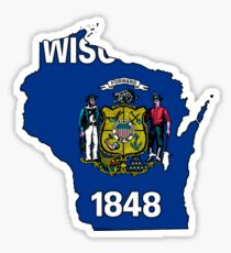 Wisconsin Map with Wisconsin State Flag Sticker