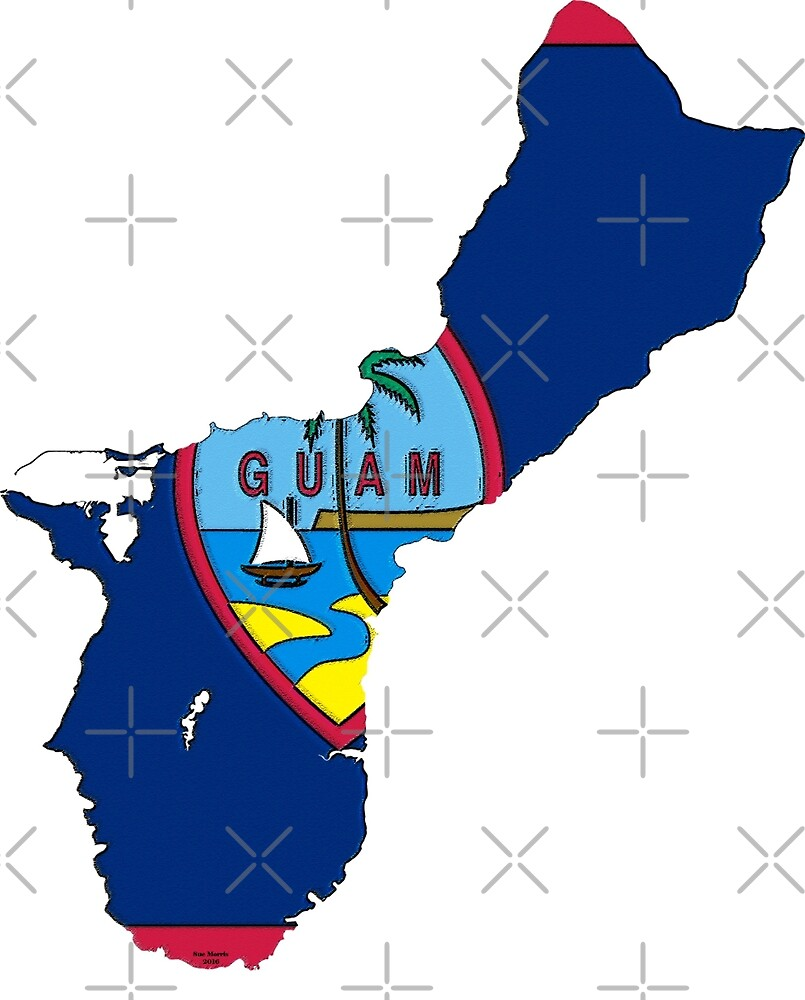 Guam Map with Guamanian Flag by Havocgirl