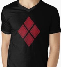 Red Diamond Patches with Inside stitching Mens V-Neck T-Shirt