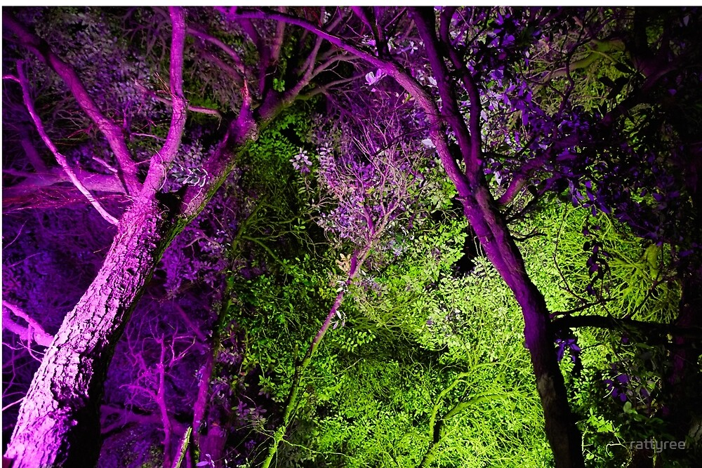 Green and Purple Trees by rattyree