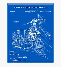 Motorcycle Sidecar Patent - Blueprint Photographic Print