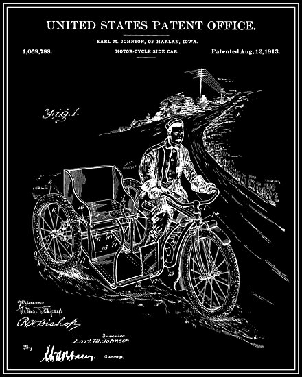 Motorcycle Sidecar Patent - Black by FinlayMcNevin