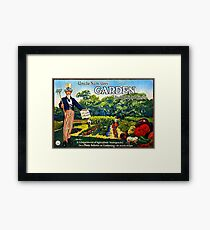 """Uncle Sam says GARDEN to cut food costs"" - Vintage propaganda poster .  Framed Print"