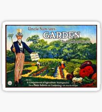 """""""Uncle Sam says GARDEN to cut food costs"""" - Vintage propaganda poster .  Sticker"""