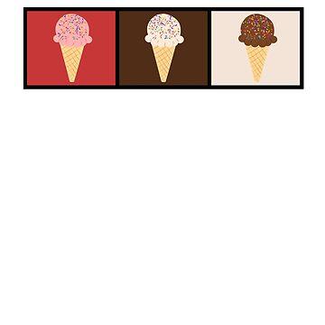 Three Flavor Ice Cream Cone Tshirt by SirKyanite