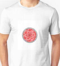 flower with striped round pink Unisex T-Shirt