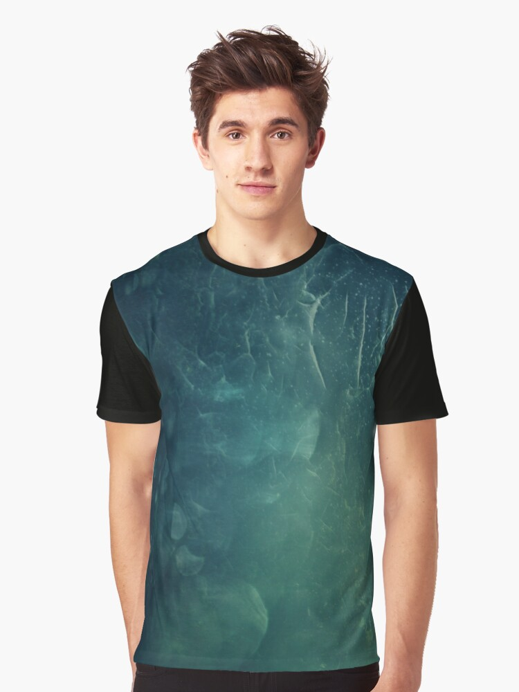 Abstract Green Graphic T-Shirt Front