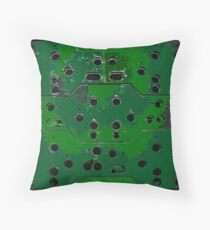 Rust With Holes Green Throw Pillow