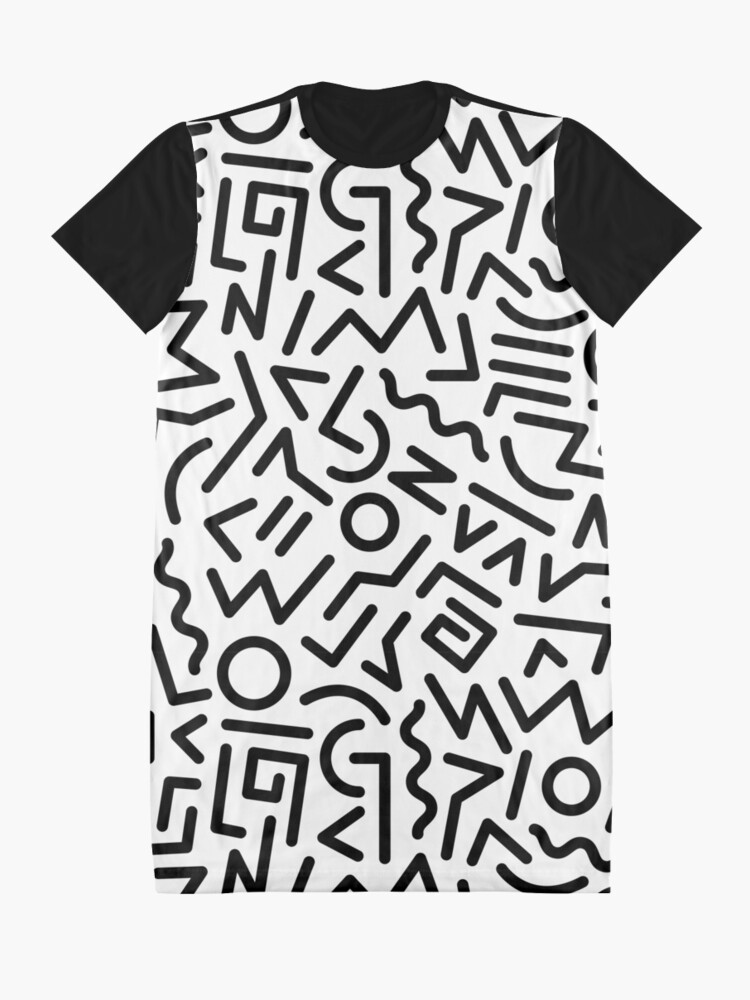 Alternate view of Memphis Pattern Black and White Graphic T-Shirt Dress