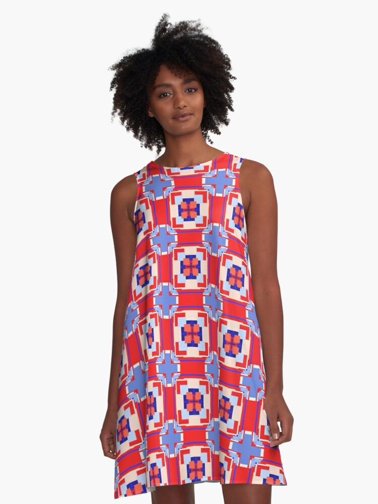 Red White Blue Patriotic A-Line Dress Front
