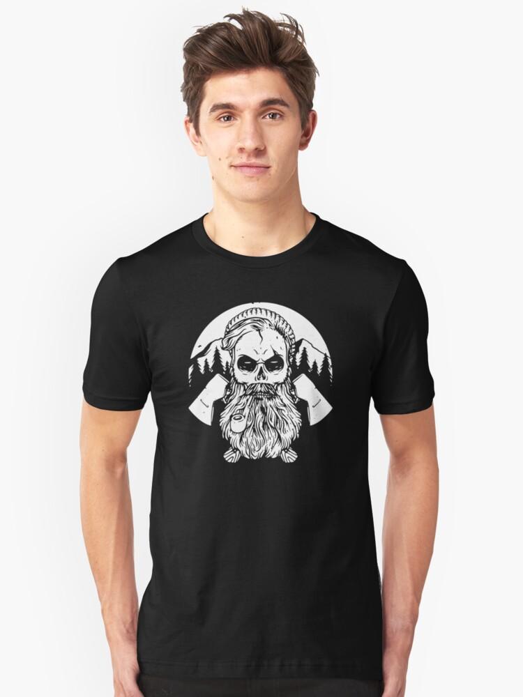 Beard Skull Hard Worker Unisex T-Shirt Front