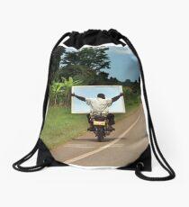 ugandan mod on his scooter Drawstring Bag
