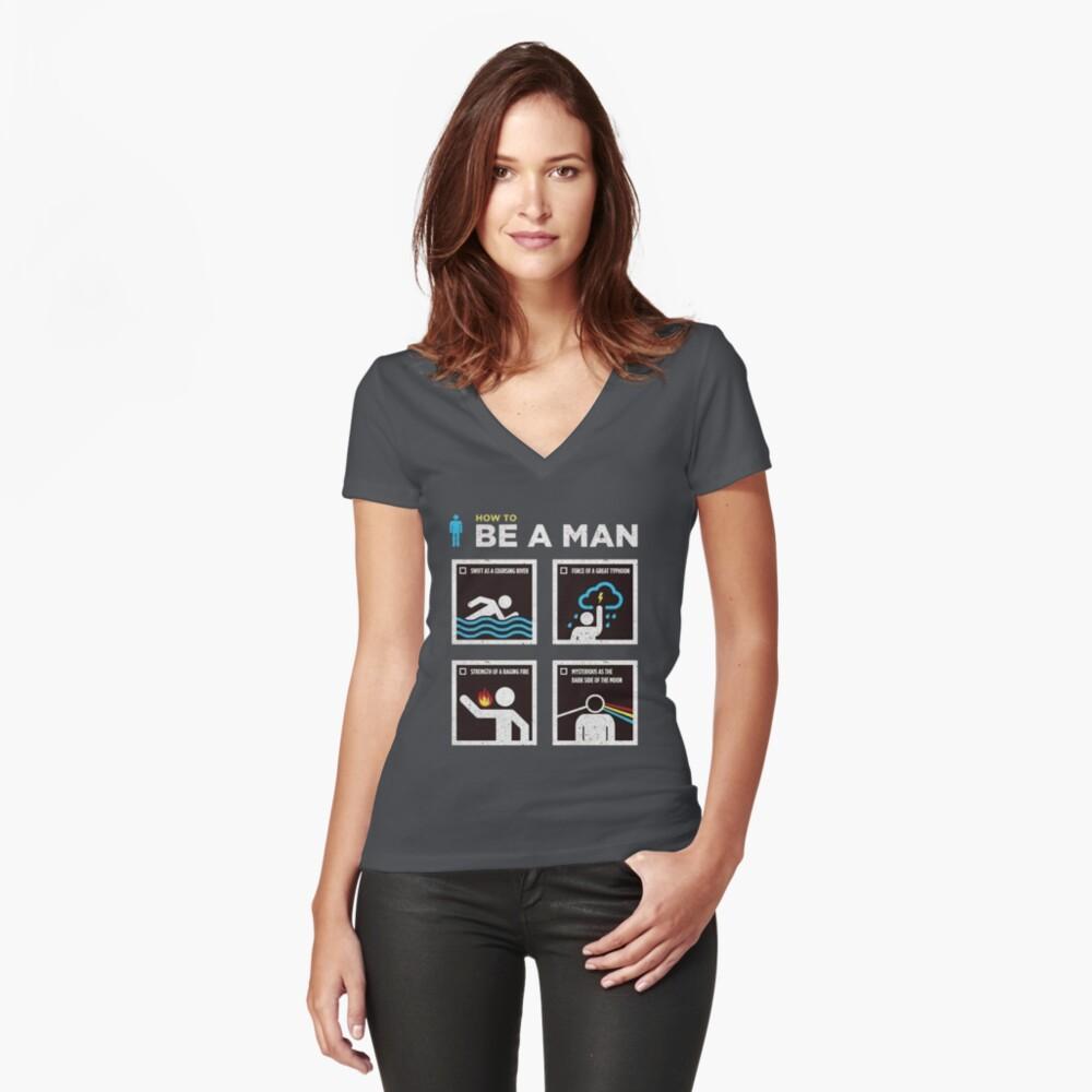 Wie man ein Mann sein kann Tailliertes T-Shirt mit V-Ausschnitt