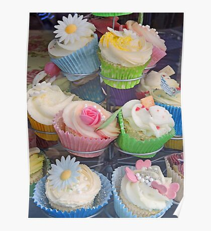 Colourful Cupcake Stand Poster