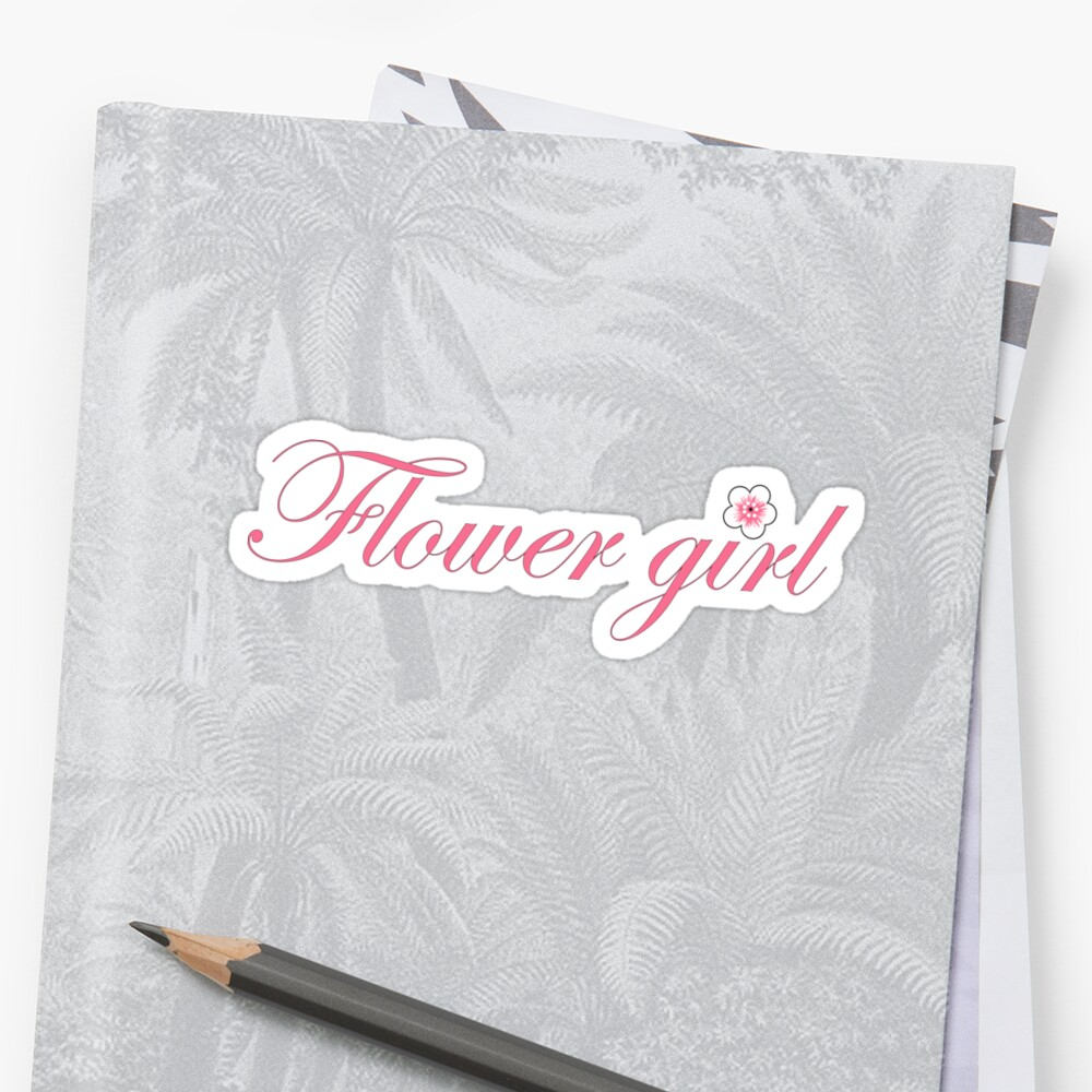 Flower girl pink script word isolated by igorsin
