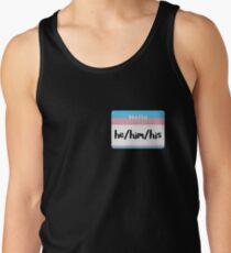 Trans Pride Pronoun Nametag - he/him/his Men's Tank Top
