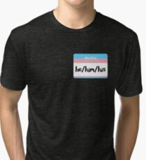 Trans Pride Pronoun Nametag - he/him/his Tri-blend T-Shirt