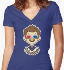 chibi!Allons-y Women's Fitted V-Neck T-Shirt