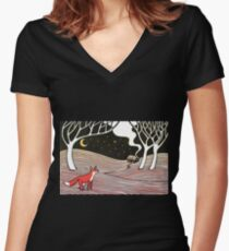 Stargazing - Fox in the Night Women's Fitted V-Neck T-Shirt