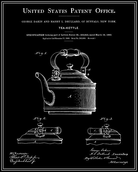 Tea Kettle Patent - Black by FinlayMcNevin