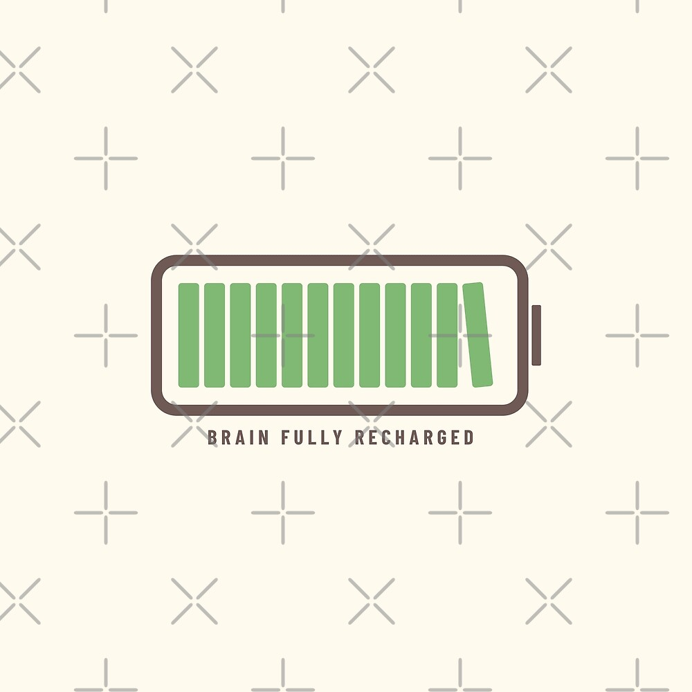 Brain Fully Recharged with Books (Latte Edition) by Piotr Kowalczyk