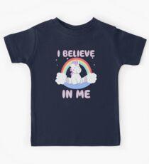 Cute Unicorn I Believe In Me T Shirt Kids Tee