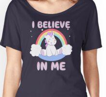 Cute Unicorn I Believe In Me T Shirt Women's Relaxed Fit T-Shirt