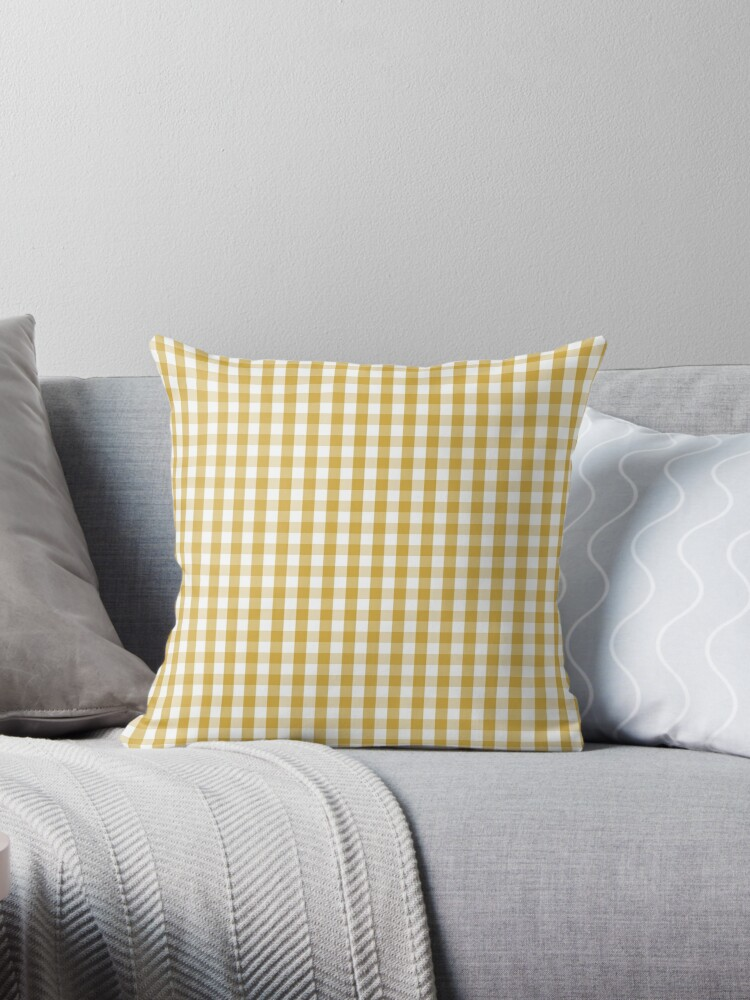 Designer Fall 2016 Color Trends-Spicy Mustard Yellow Gingham Check by podartist